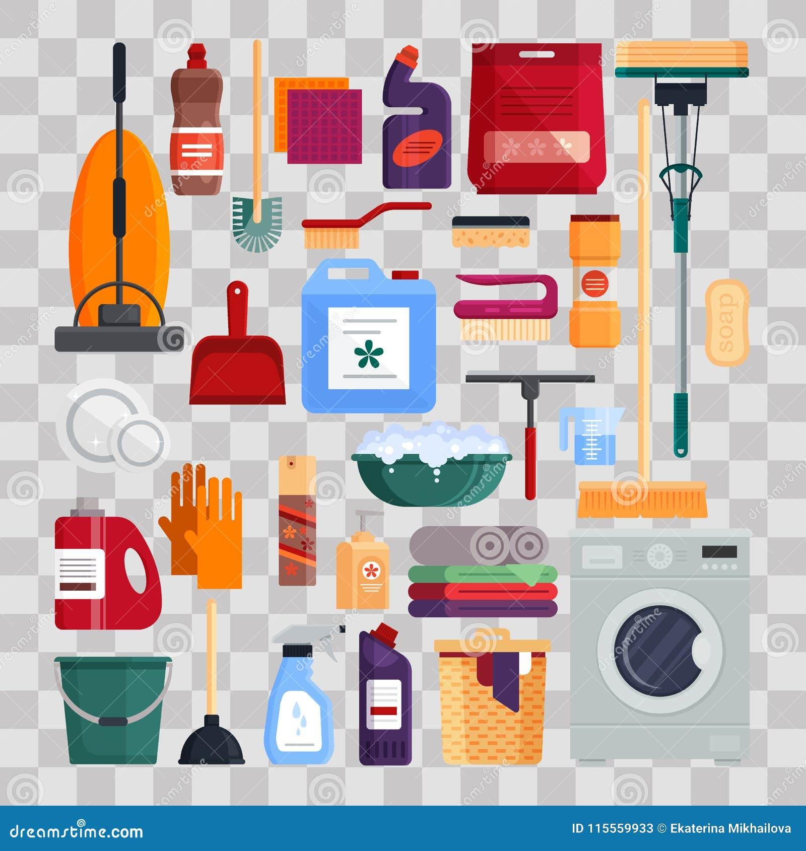 service de nettoyage placez les outils de nettoyage de maison sur le fond transparent produits. Black Bedroom Furniture Sets. Home Design Ideas
