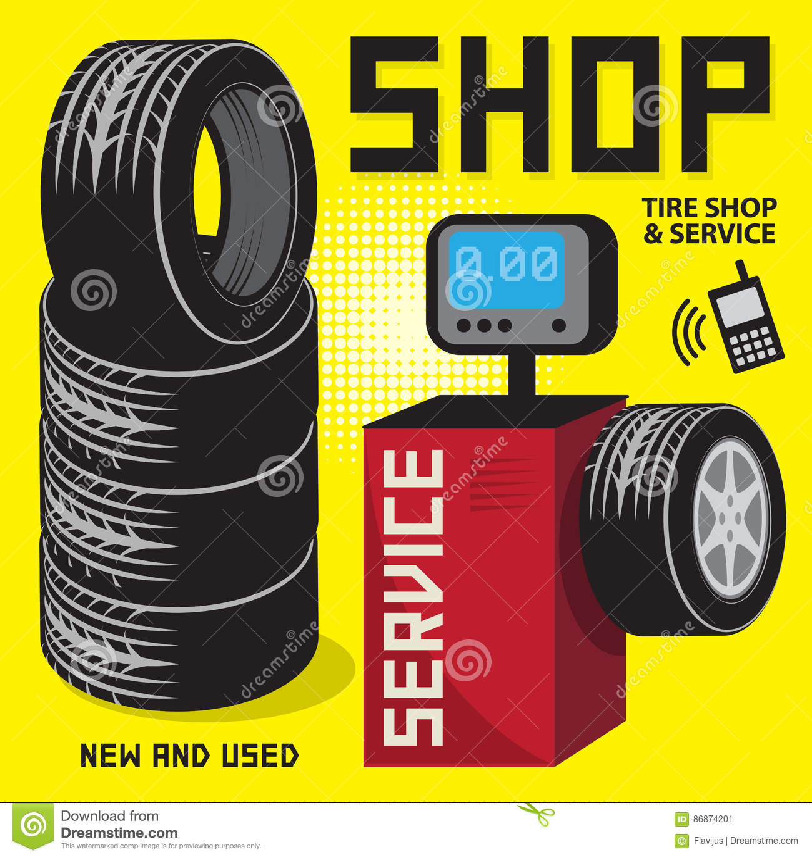 Service de pneu de vintage ou affiche de garage avec la for Garage changement de pneu
