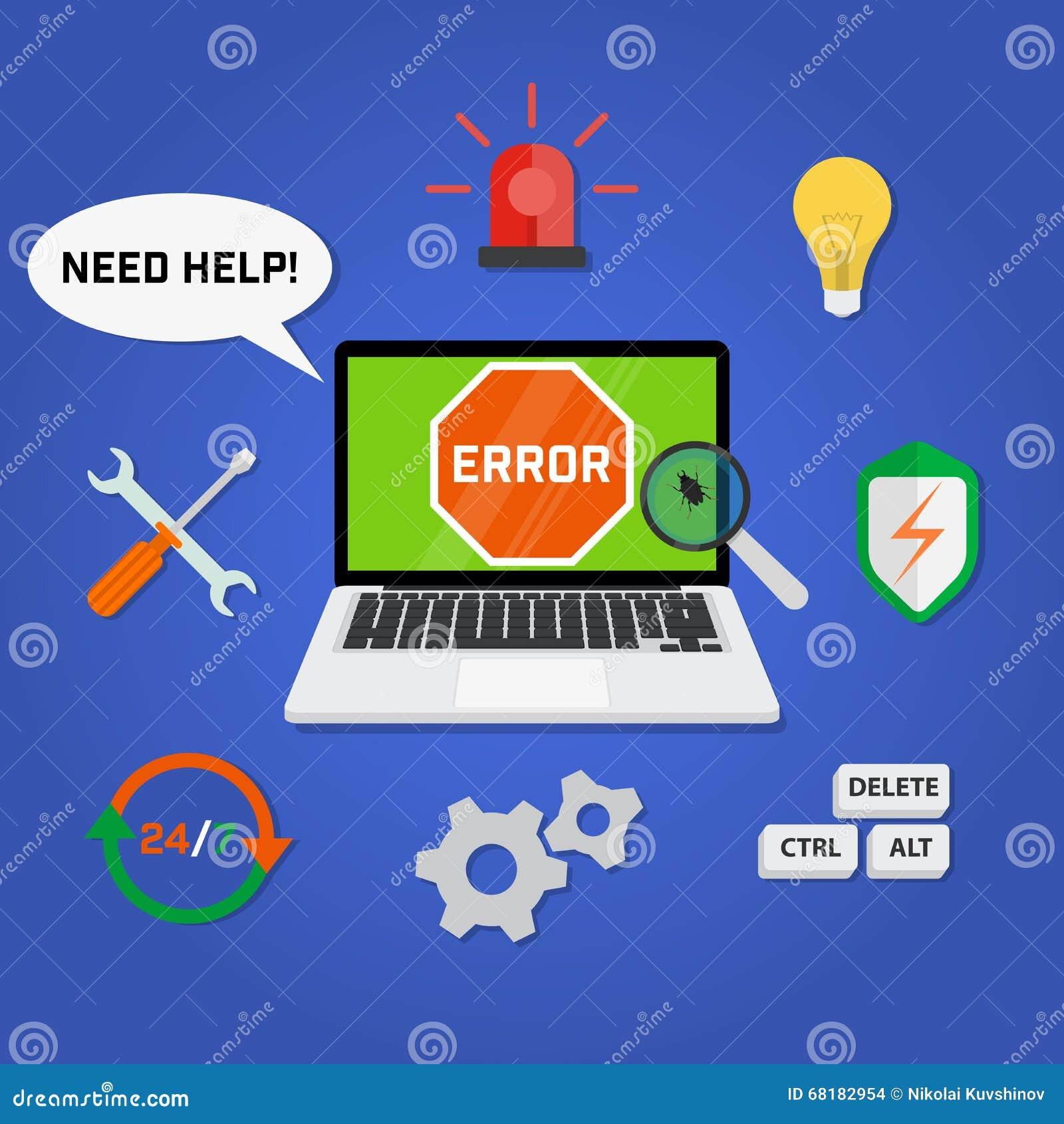 Service de support technique d ordinateur de concept