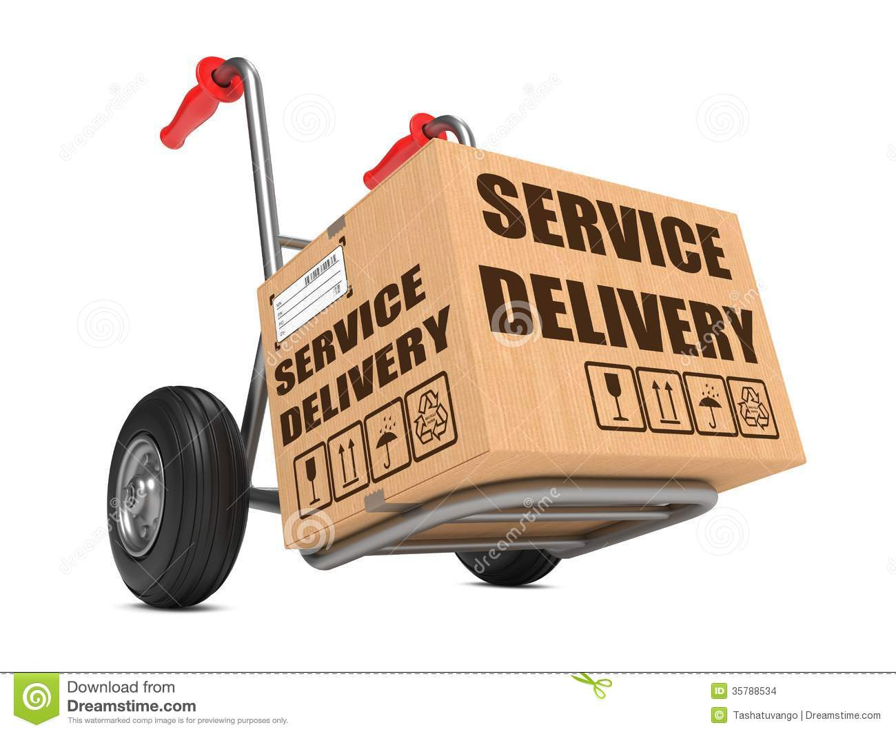 Service Delivery - Cardboard Box On Hand Truck. Stock Images - Image ...