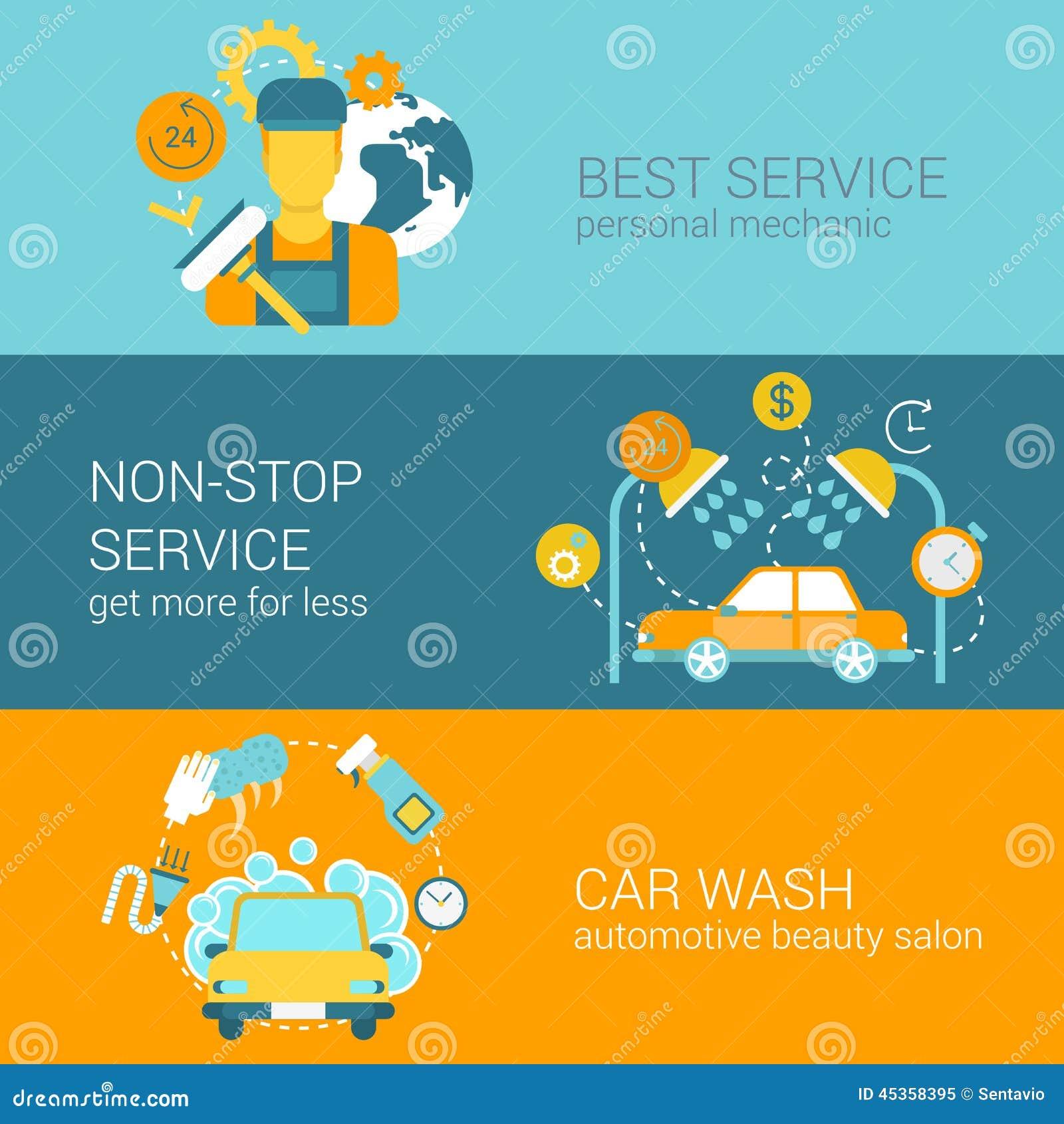 Service des réparations de voiture et calibre plat d infographics de Web de style de lavage