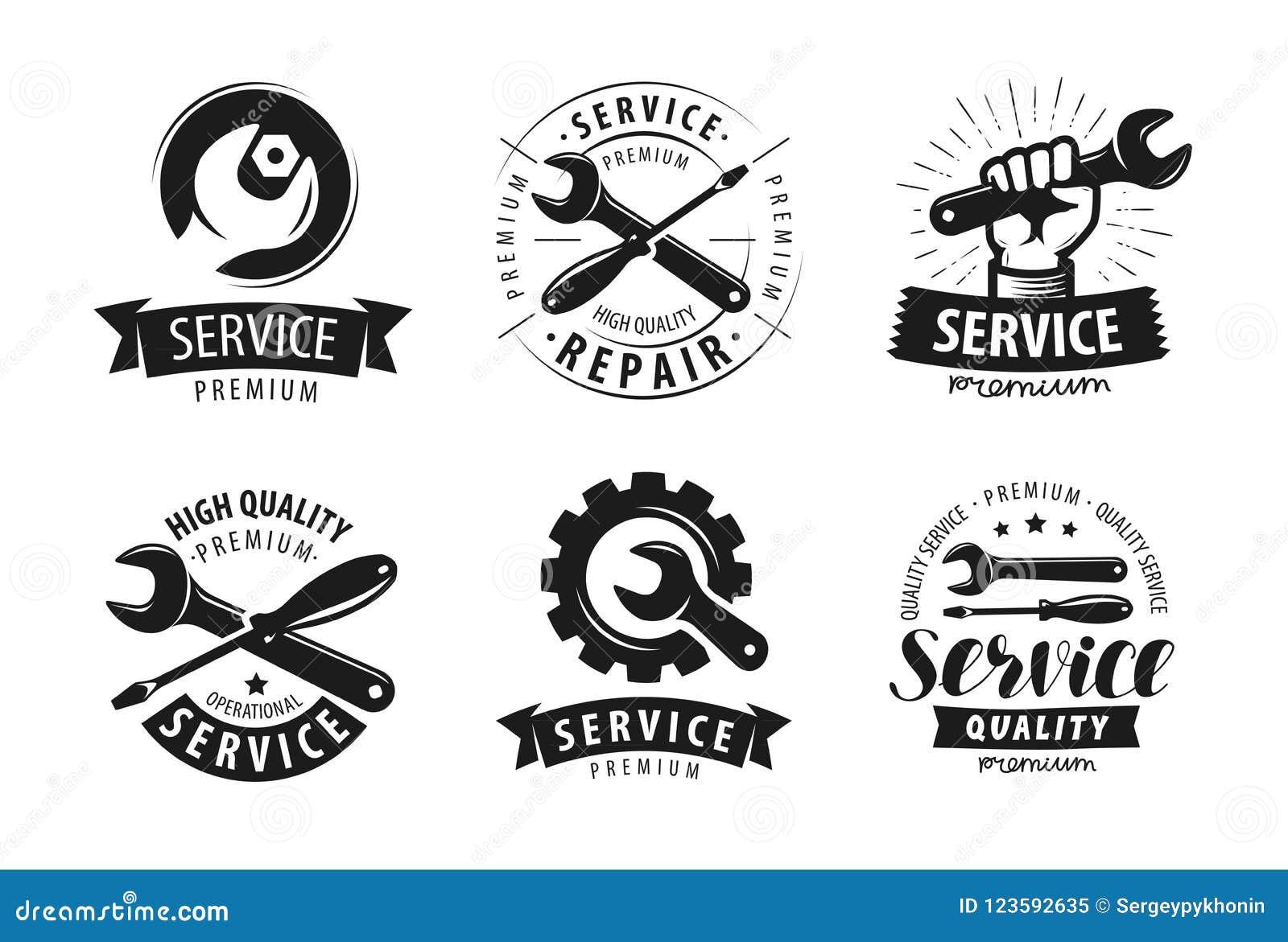 service  ensemble de r u00e9paration de labels ou logos ic u00f4ne de travaux d u0026 39 entretien vecteur
