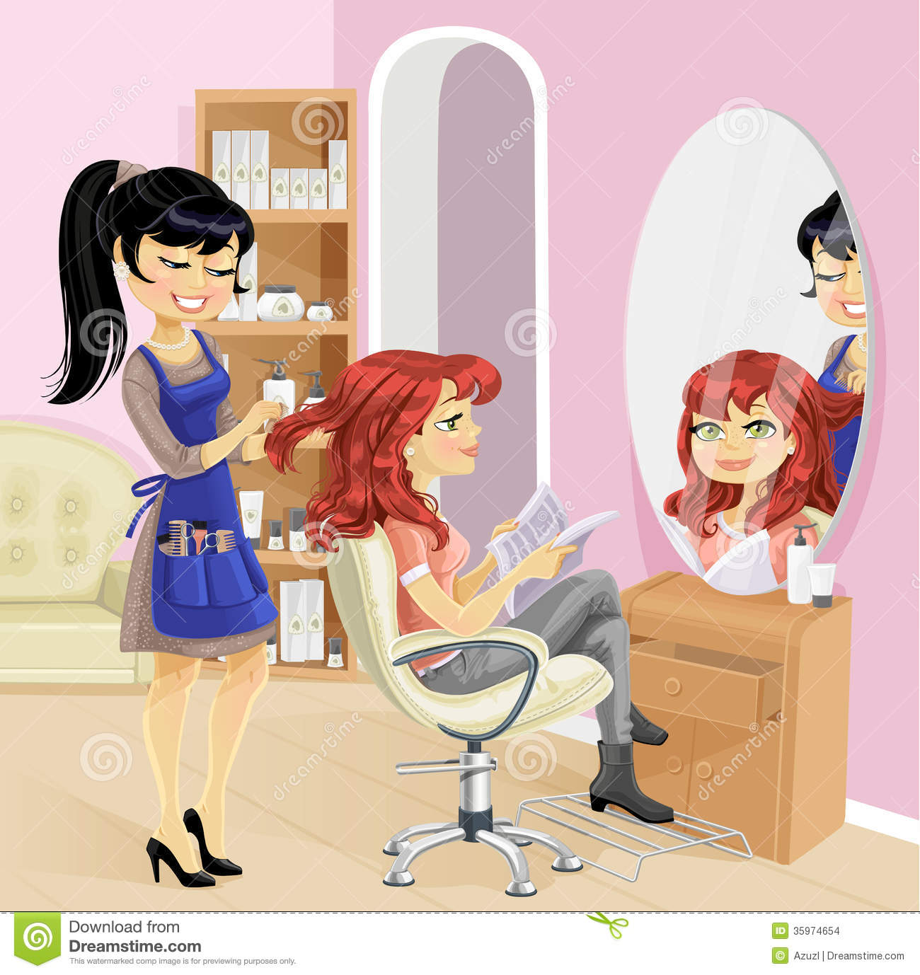Service Girl In Beauty Salon At The Hairdresser Stock