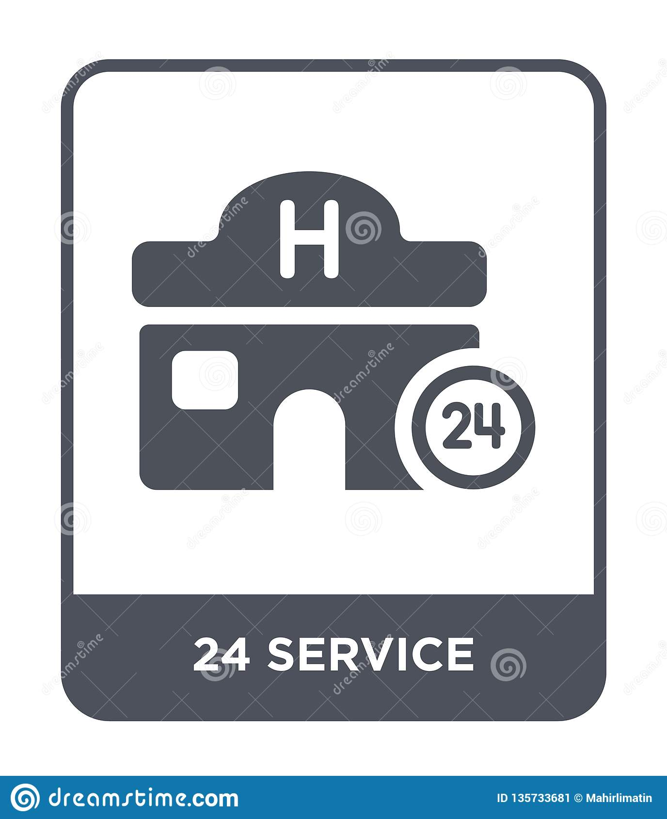 24 service icon in trendy design style. 24 service icon isolated on white background. 24 service vector icon simple and modern