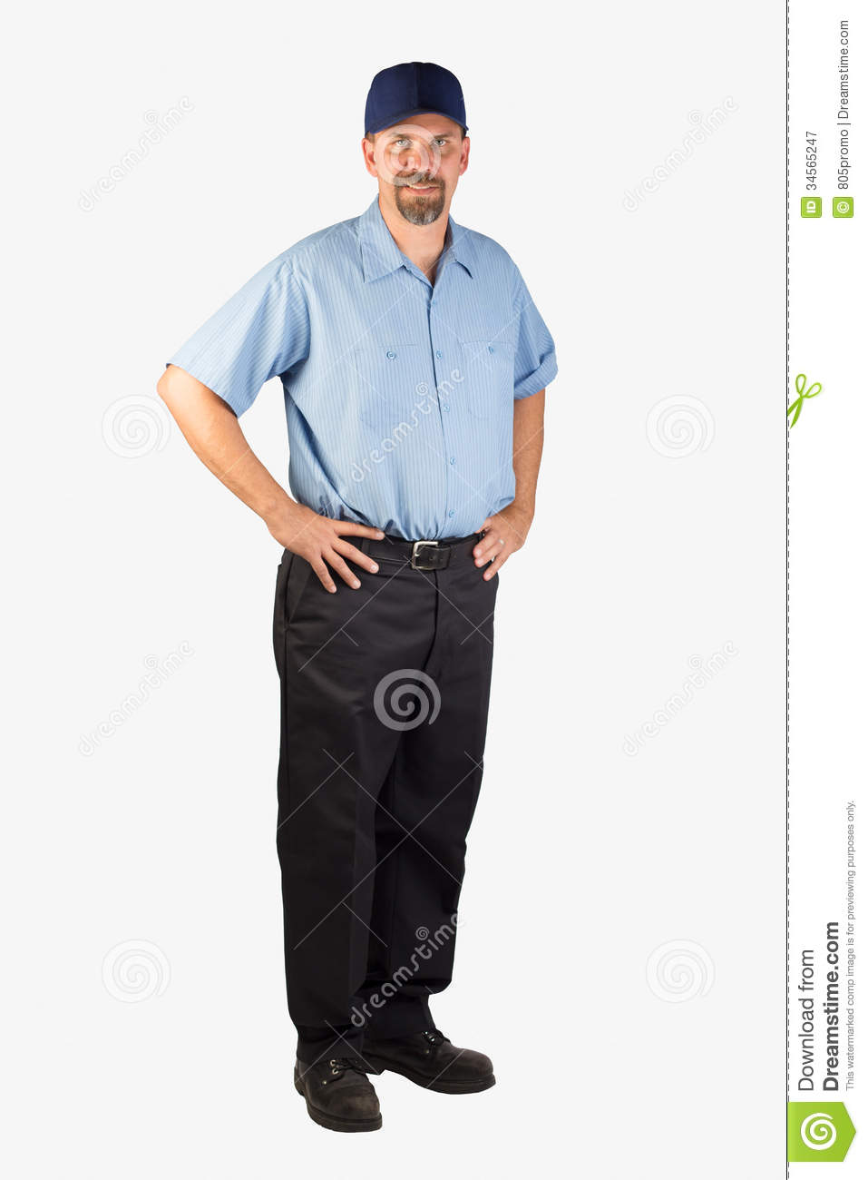 Service Man Standing With Hands On Hips Royalty Free Stock