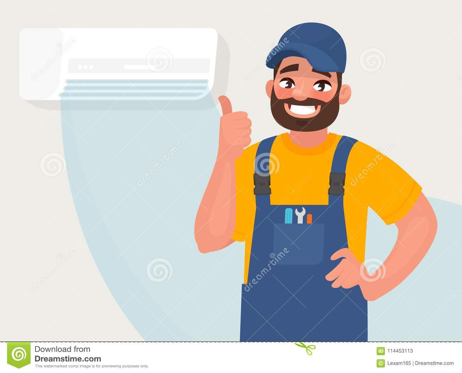 Service och reparation av luftkonditioneringsapparater Repairmanen på bakgrunden av fungera en riktigt luftkonditioneringsapparat