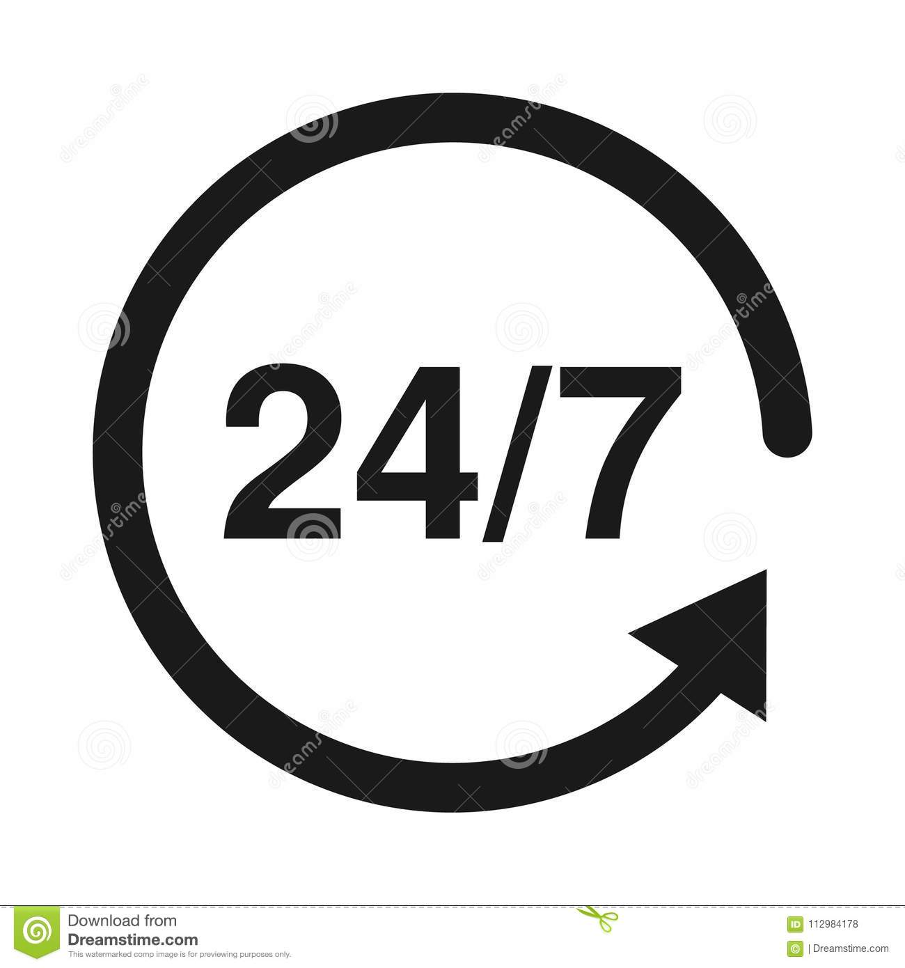 24 7 Service open 24h hours a day and 7 days a week. Flat isolated vector illustration in black.