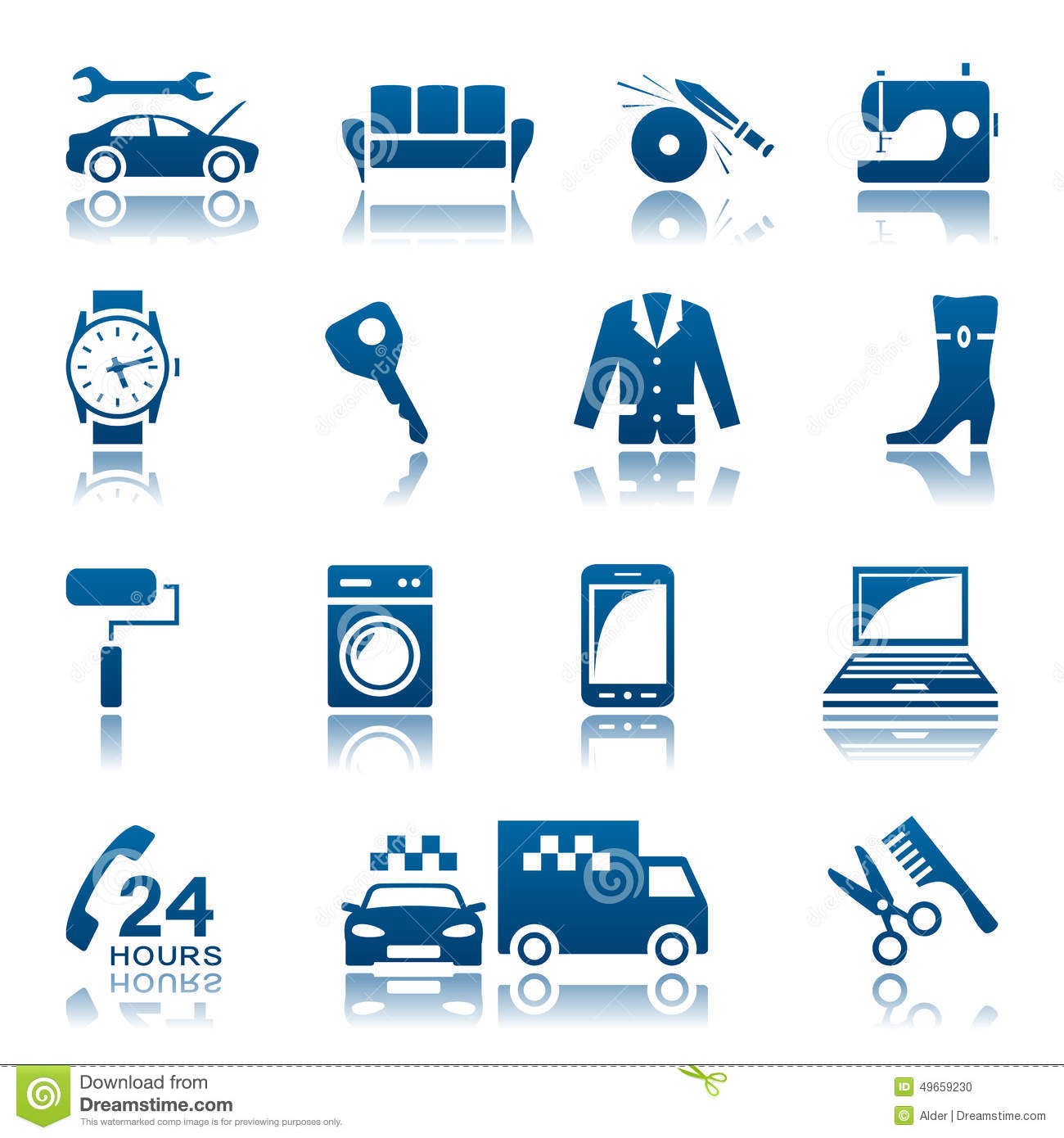 Service And Repair Icon Set Stock Vector - Image: 49659230