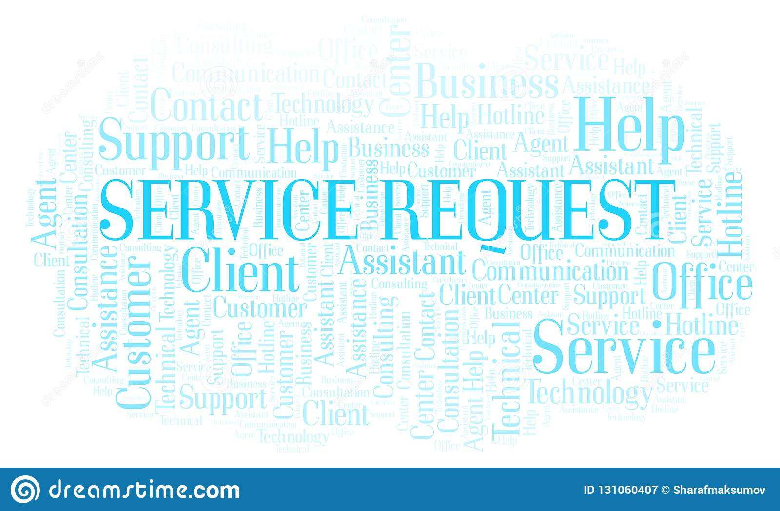 Service Request Word Cloud  Stock Illustration