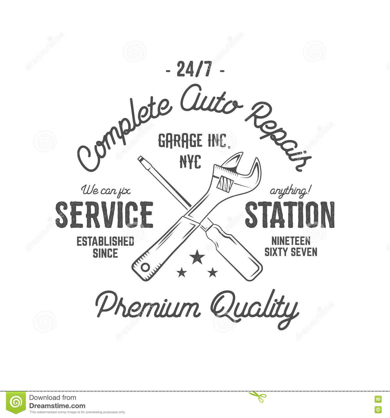 Design t shirt label - Service Station Vintage Label Tee Design Graphics Complete Auto Repair Service Typography Print