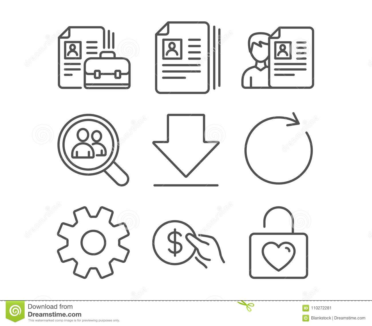 download service synchronize and payment icons cv documents downloading and vacancy signs