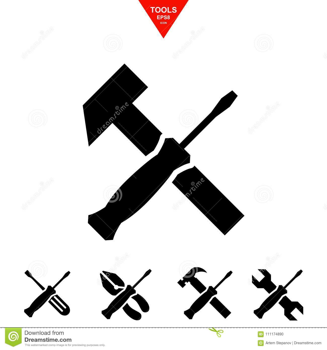 Service Tools Icons With Screwdriver Stock Vector