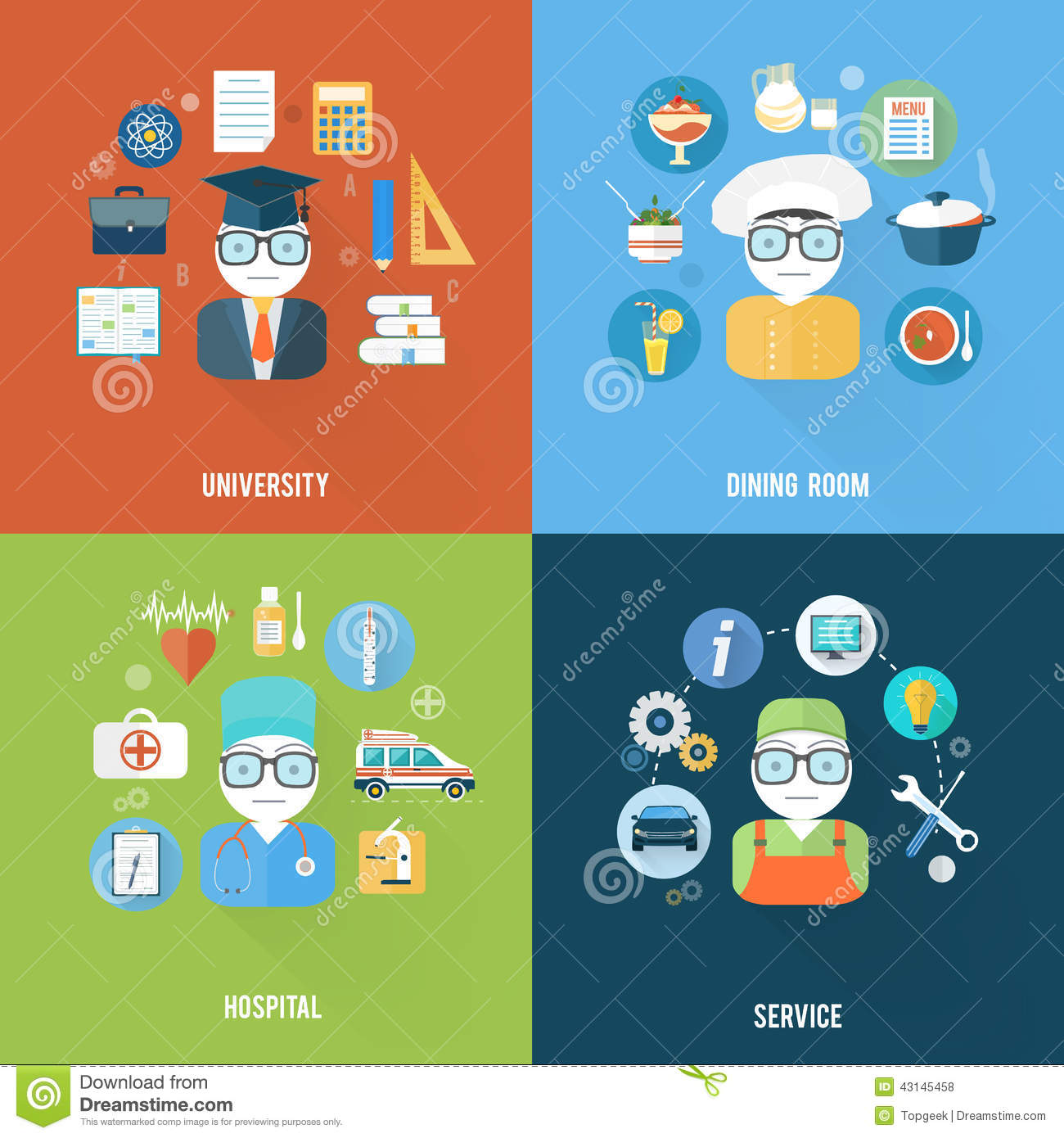 Service, University, Hospital And Dining Room Stock Vector ...