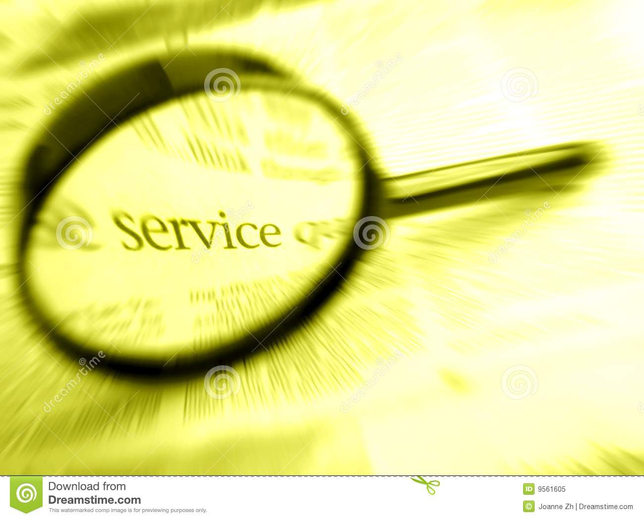Service word with magnifier