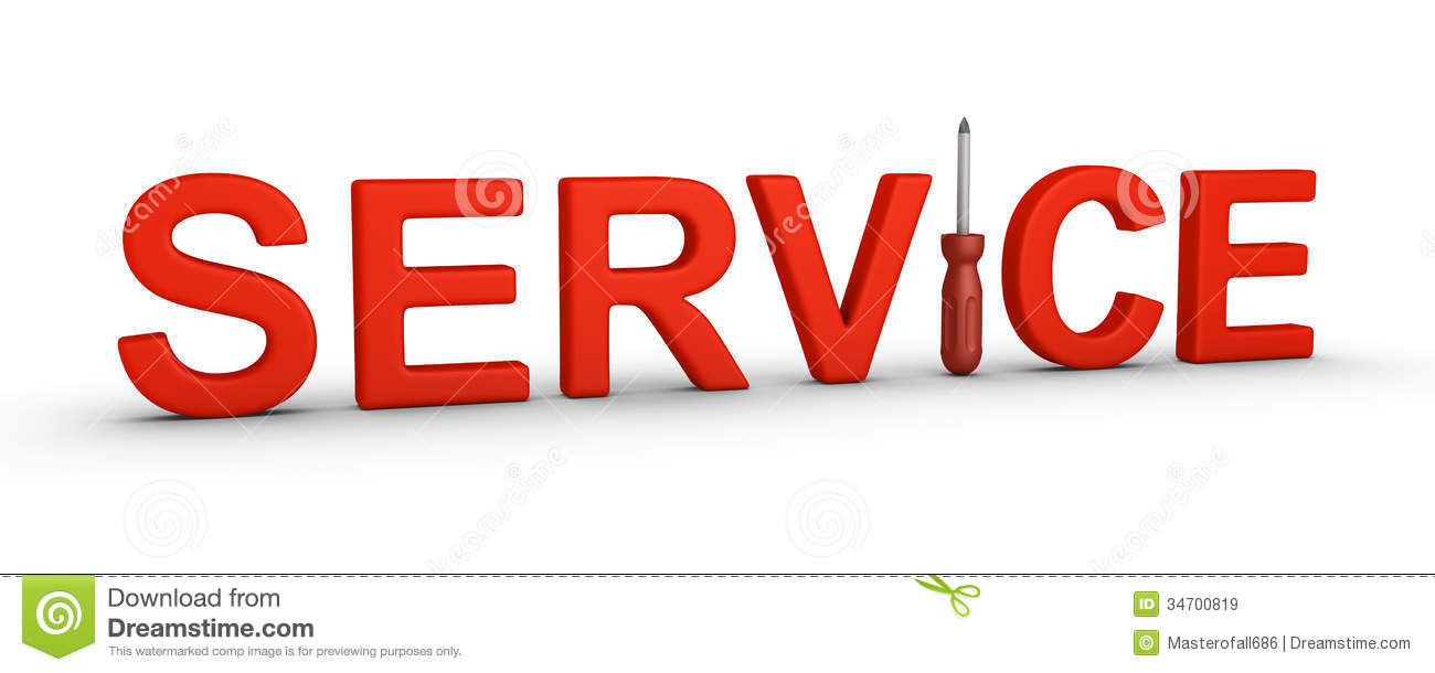 Diagram Service Word And A Screwdriver Stock Illustration