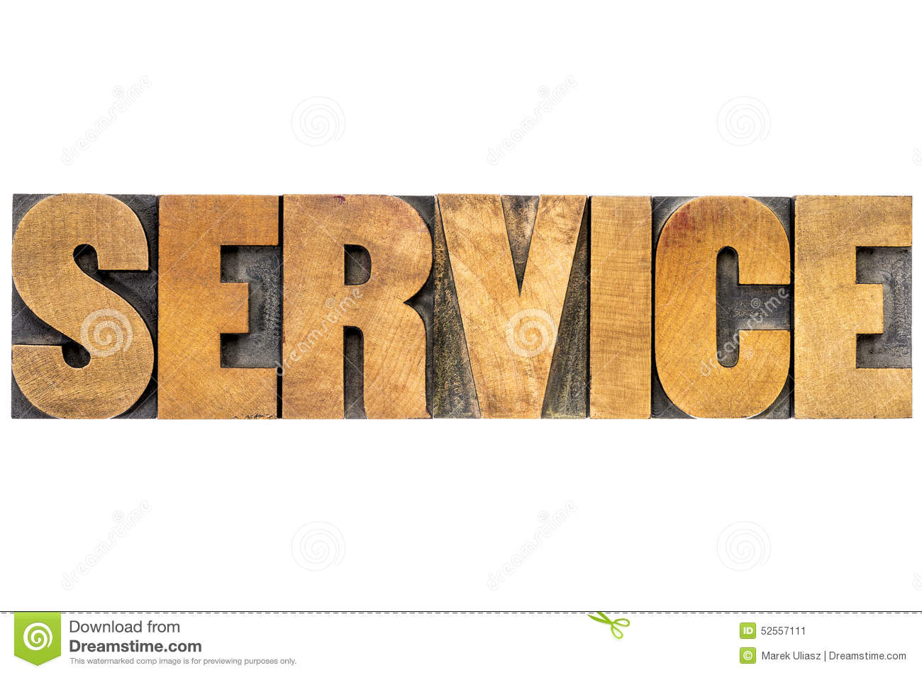 Service Word In Wood Type Stock Photo