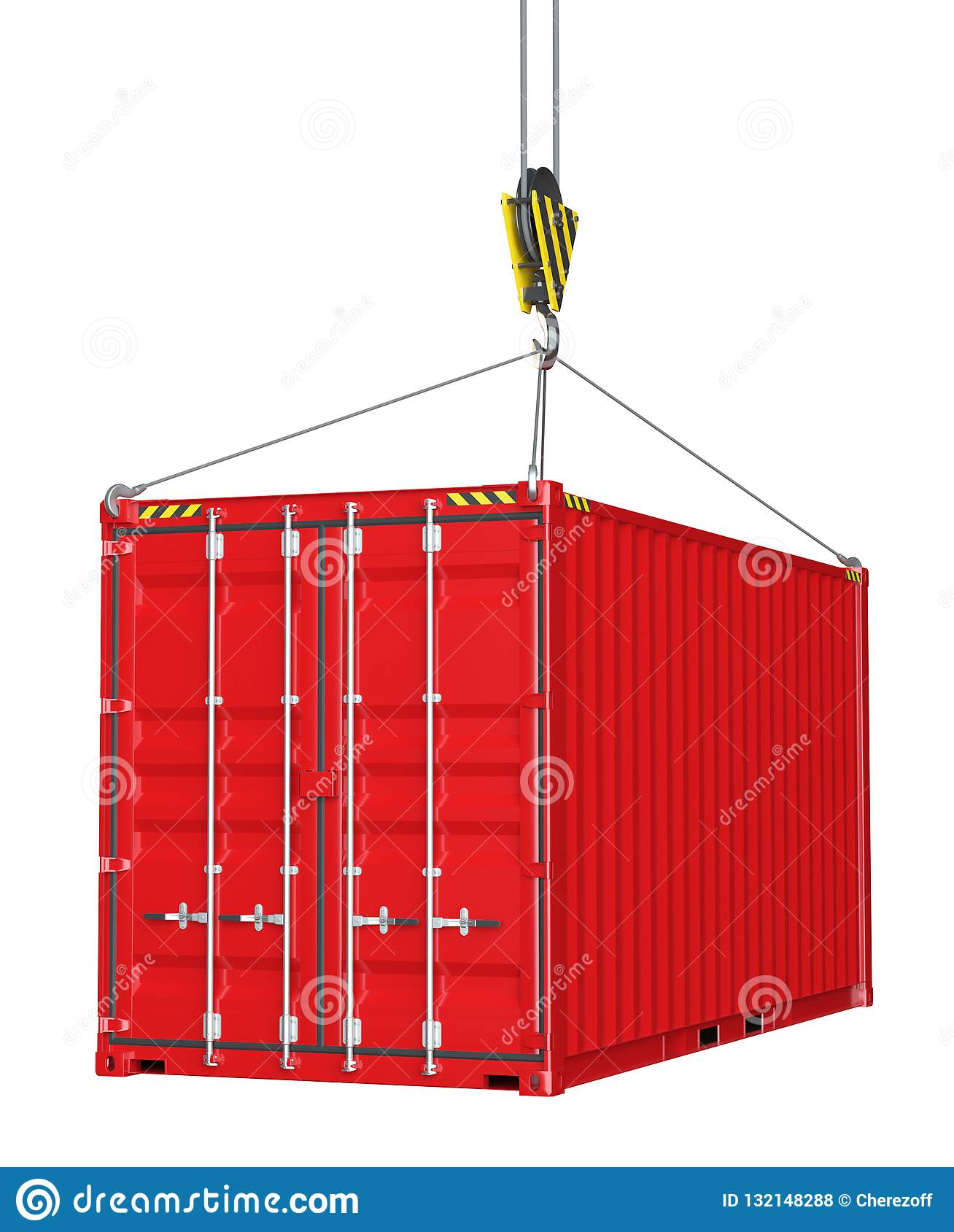 Serviceauslieferung - roter Frachtbehälter hochgezogen durch Haken