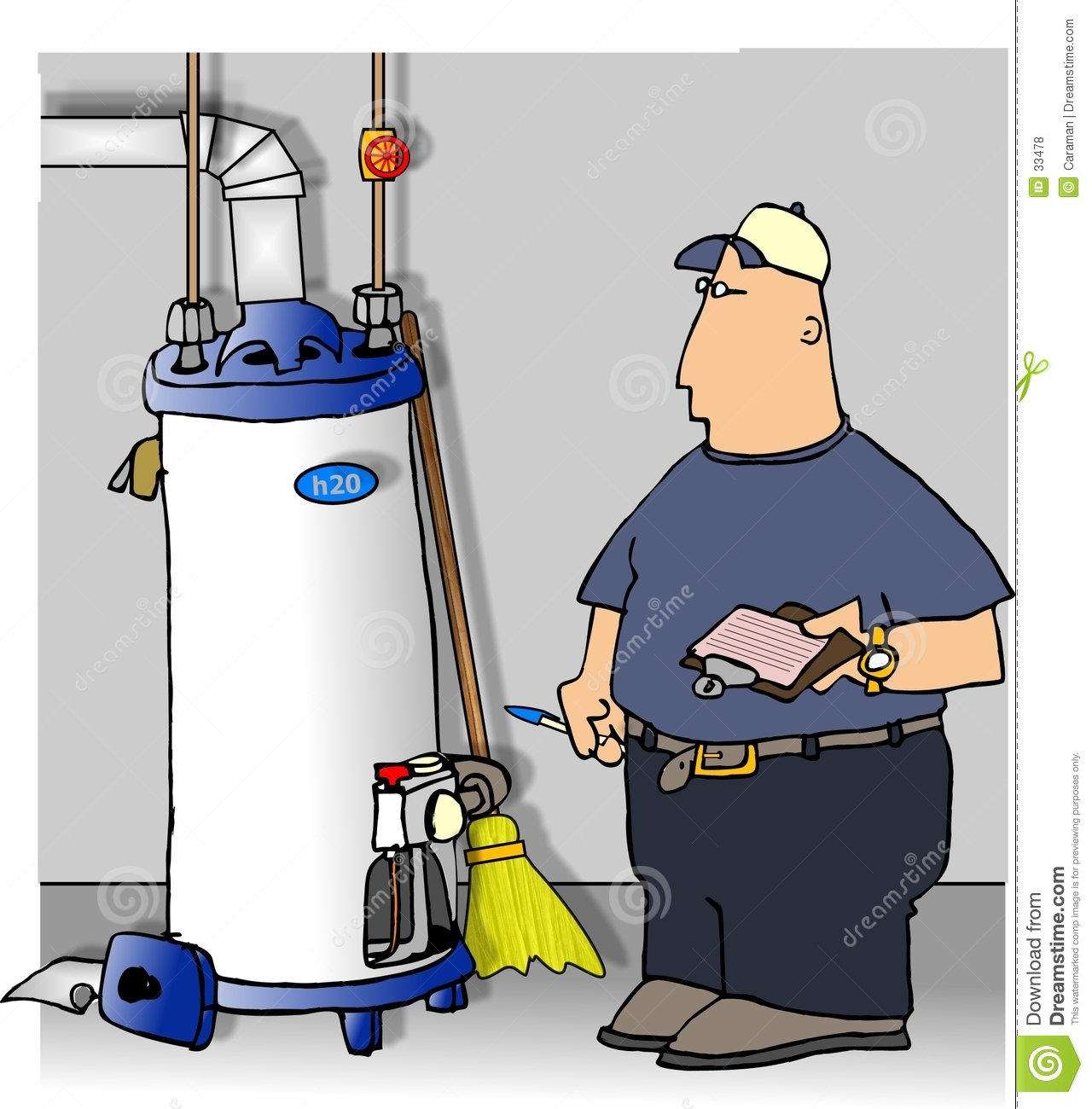Serviceman Checking A Water Heater Royalty Free Stock ...