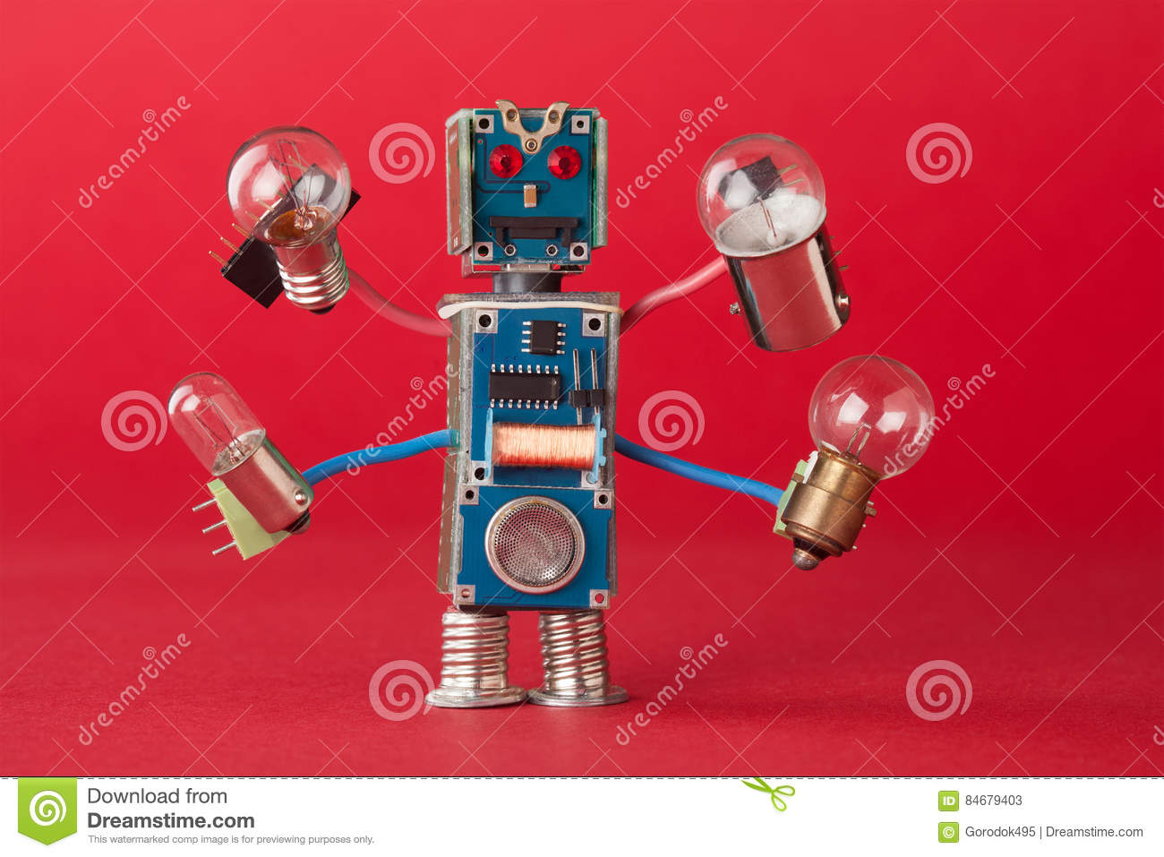 Serviceman illuminator with light bulbs in four hands. Colorful robotic character holds different retro lamps. Funny