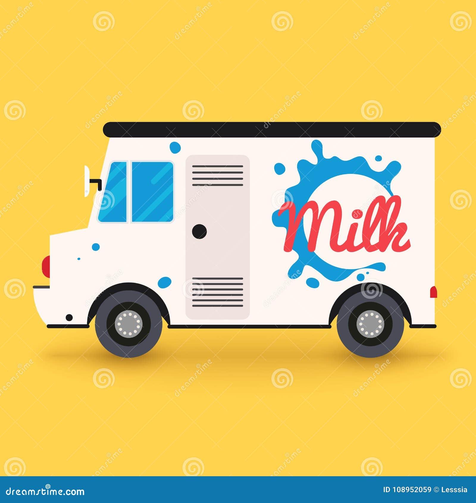 Servicio de entrega de la leche de la lechería Furgoneta de entrega local Modo de diseño plano