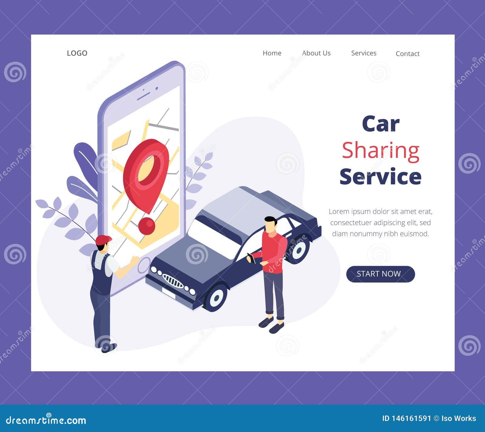 Servicio de la distribución de coche, donde 2 personas están compartiendo un concepto isométrico de las ilustraciones del coche