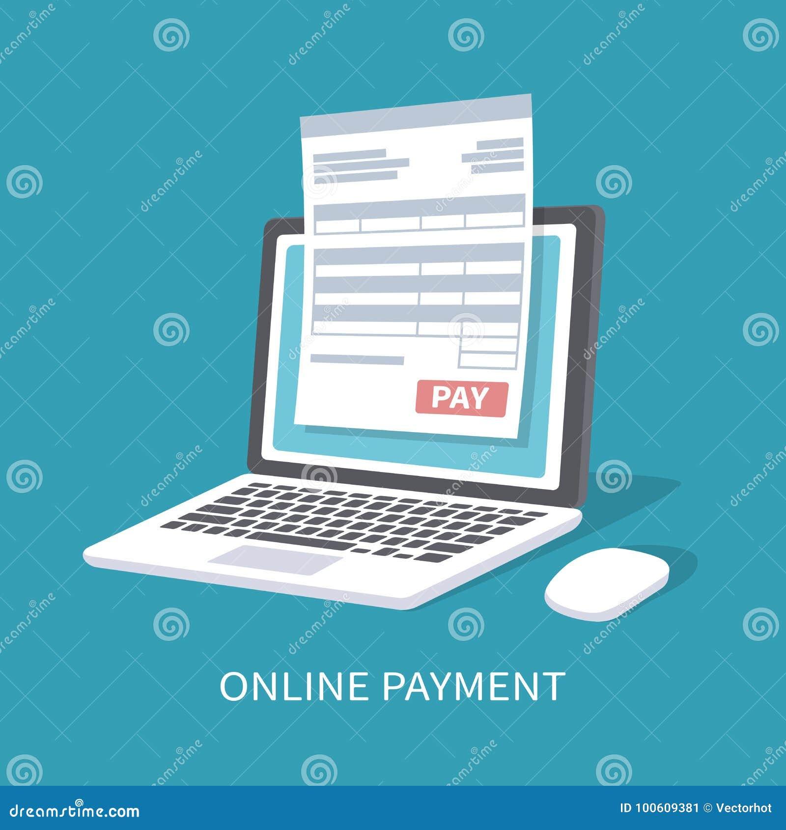 Servicio en línea del pago Documente la forma en la pantalla del ordenador portátil con un botón de la paga