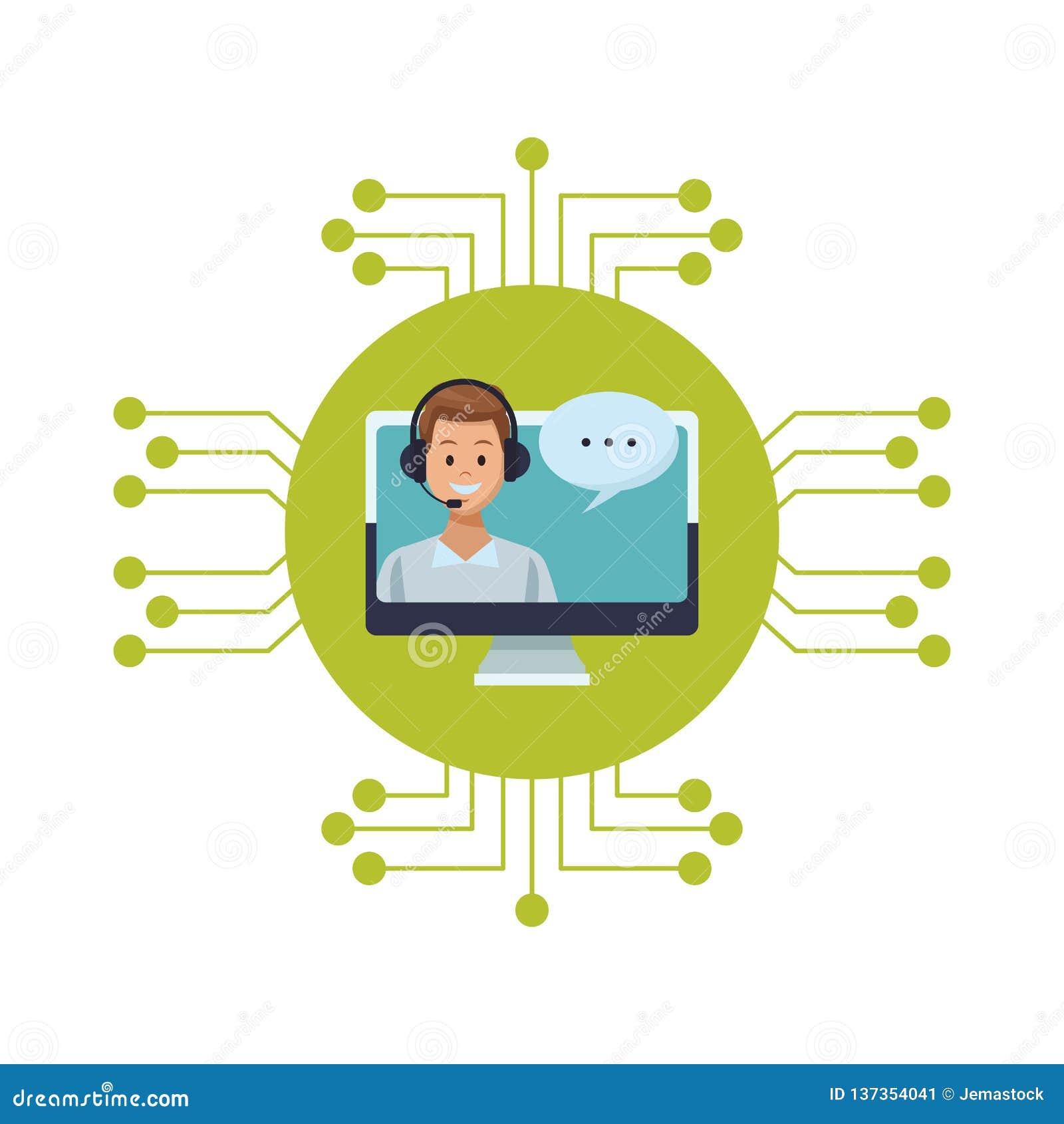 441525387 Auriculares del hombre de los servicios de asistencia del traje en  ordenador con el circuito electrónico de la burbuja del discurso