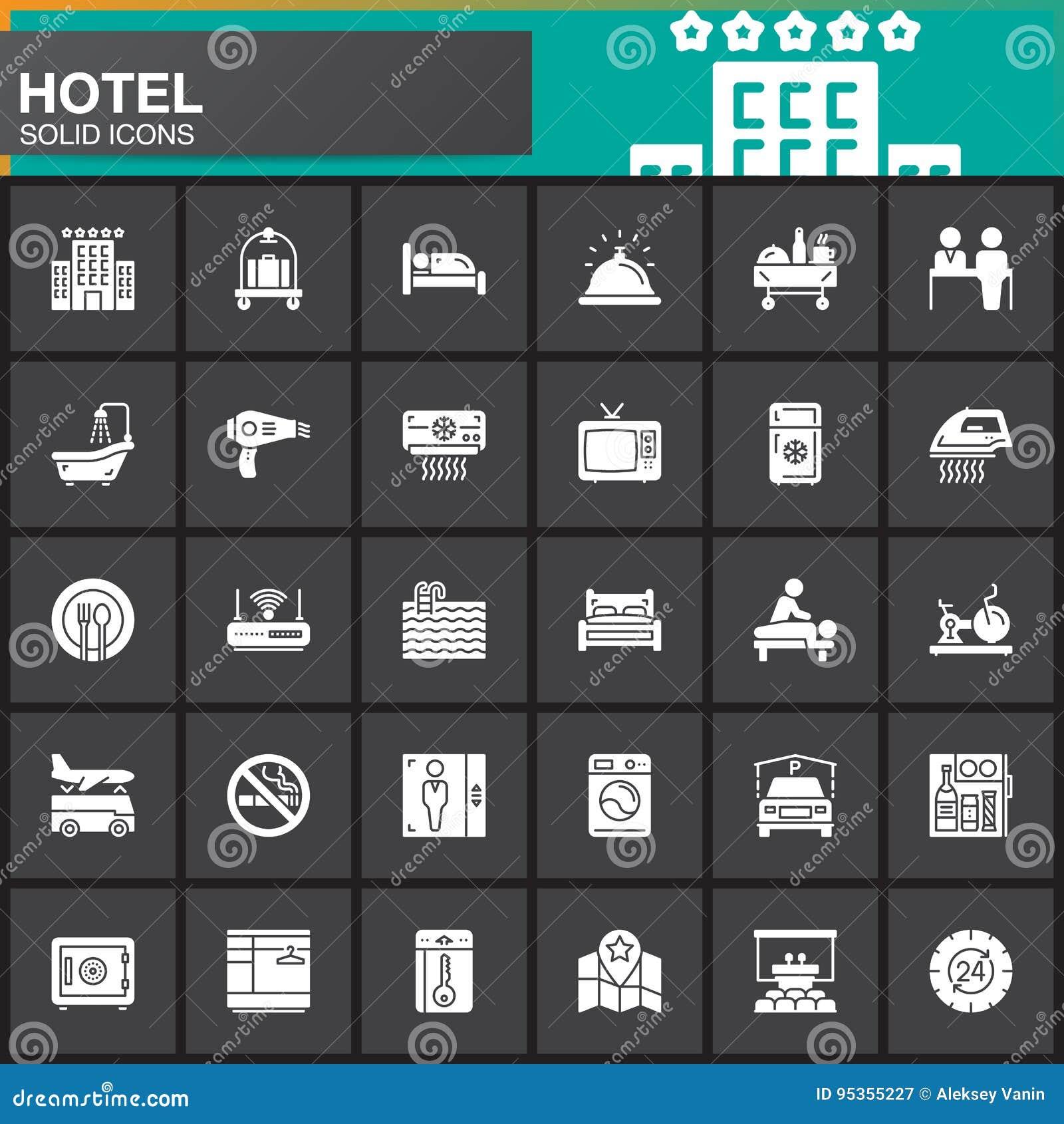Servicios de hotel e iconos fijados, colección sólida moderna del símbolo, paquete blanco llenado del vector de las instalaciones