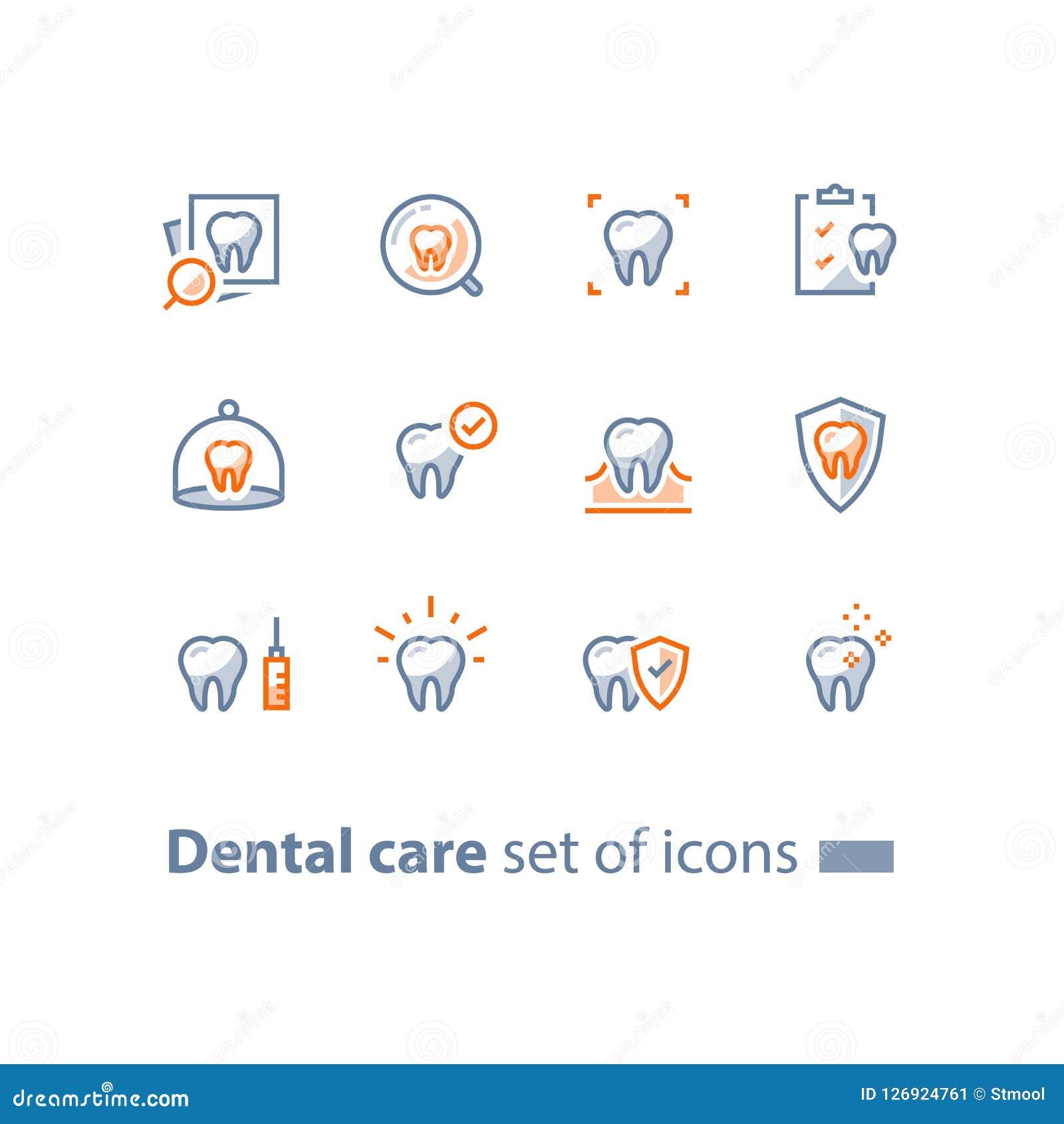 Servicios de la estomatología, cuidado dental, controlar de la prevención, higiene y tratamiento, línea iconos