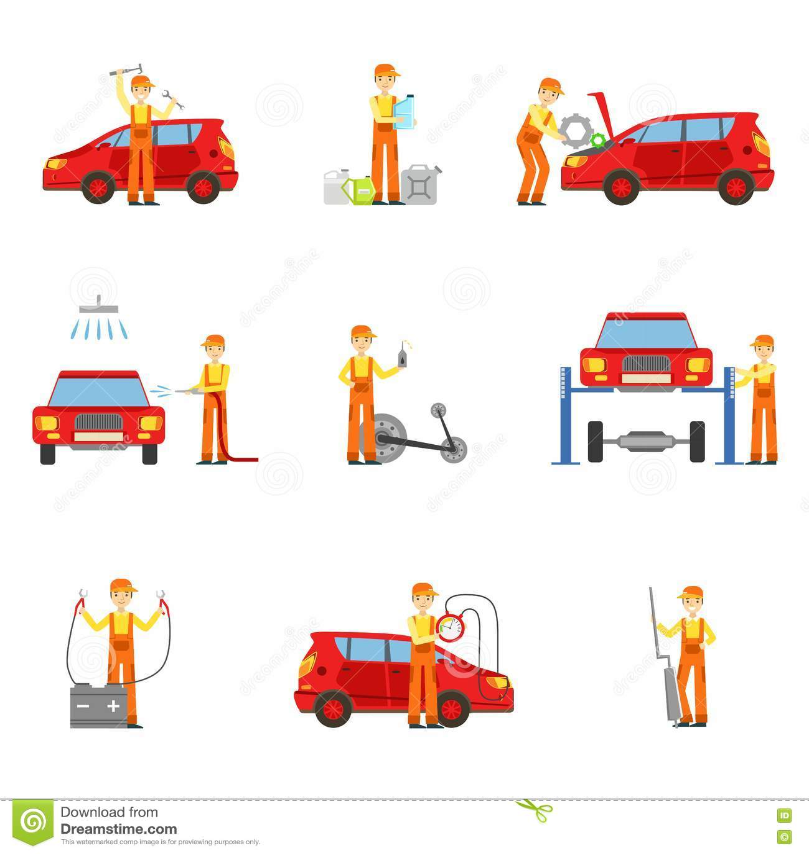 Servicios del taller de la reparación del coche fijados de ejemplos