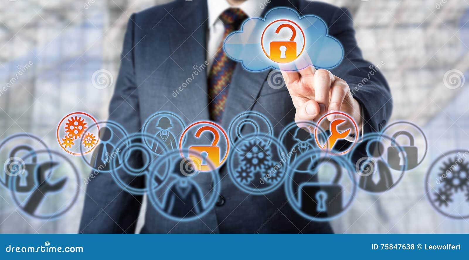 Servicios manejados Unlocking Access To del hombre de negocios