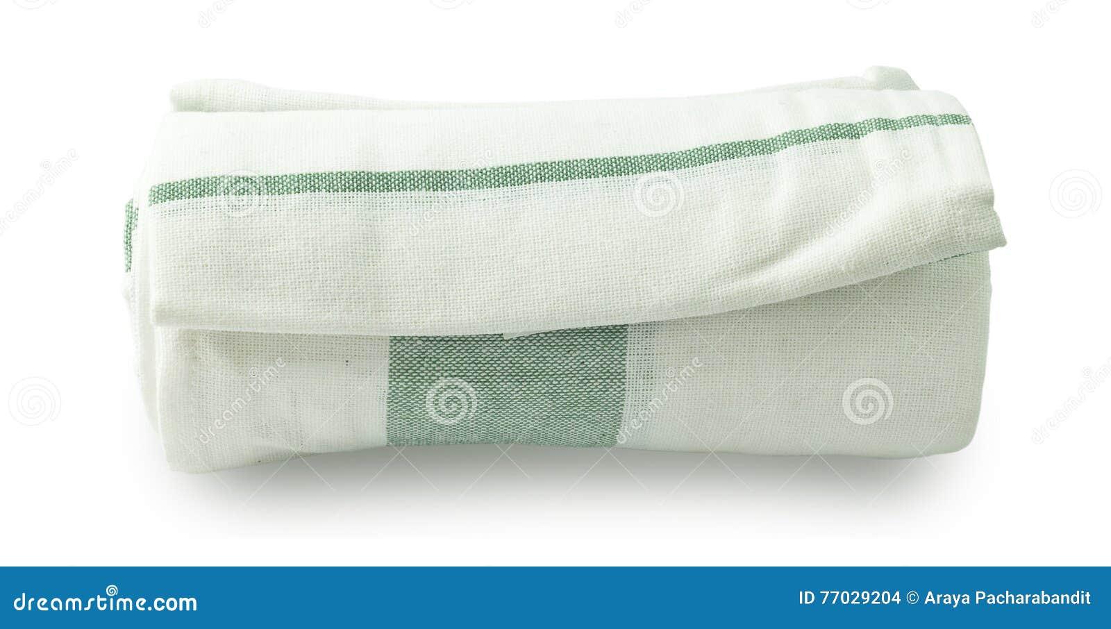 serviette de cuisine blanche et verte sur le fond blanc photo stock image 77029204. Black Bedroom Furniture Sets. Home Design Ideas