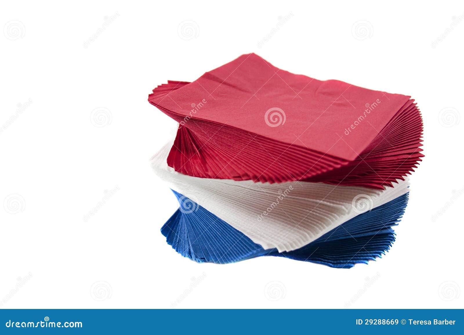 Serviettes colorées de réception sur le fond blanc d isolement