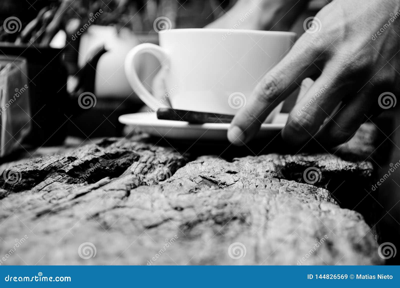 Servindo o copo do ch?/caf? com espa?o da c?pia para o uso comercial ou o algum fraseio