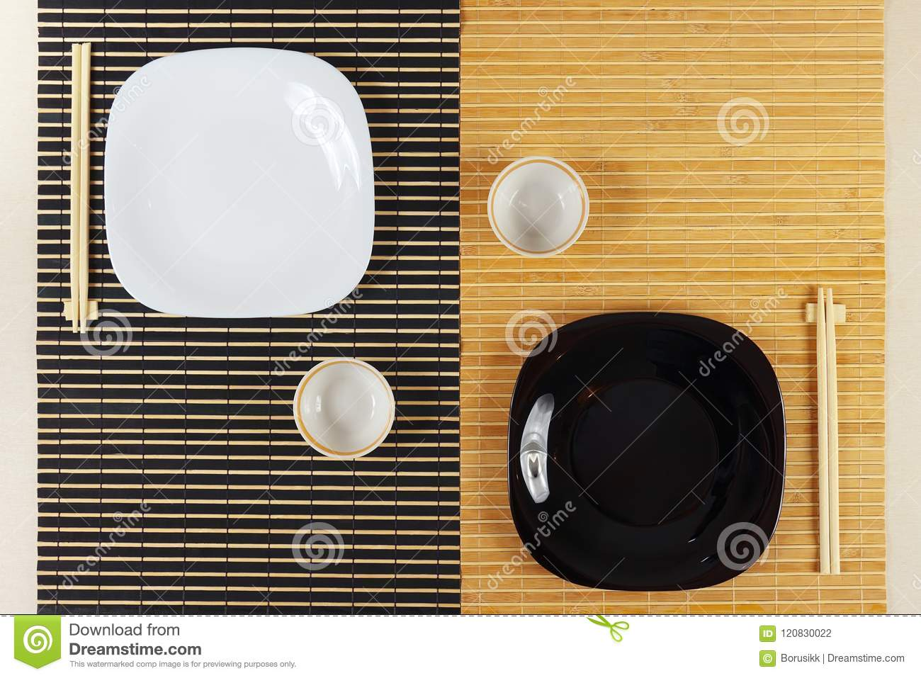 Serving Of Asian Cuisine For Two Persons. View From Above ...