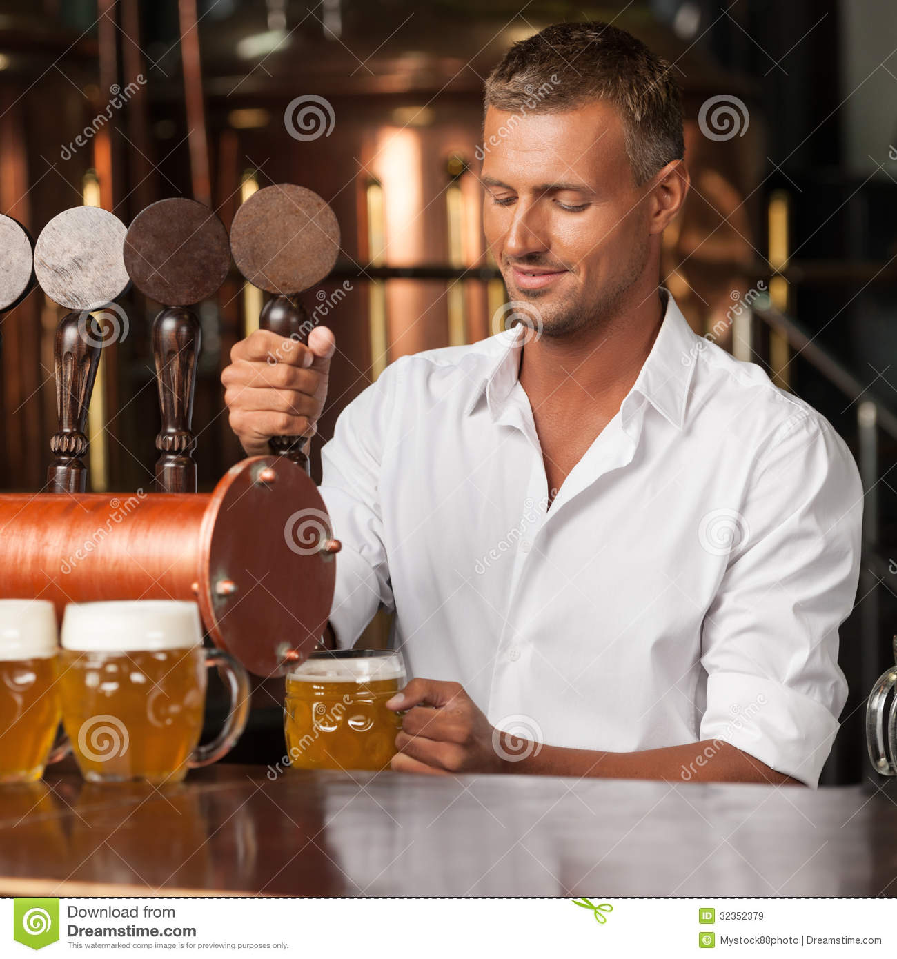 Serving The Best Beer In Town. Handsome Bartender In White Shirt Stock Image - Image of ...