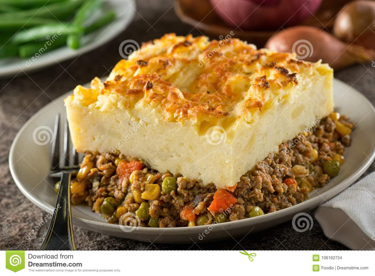 A serving of delicious homemade shepherds pie.