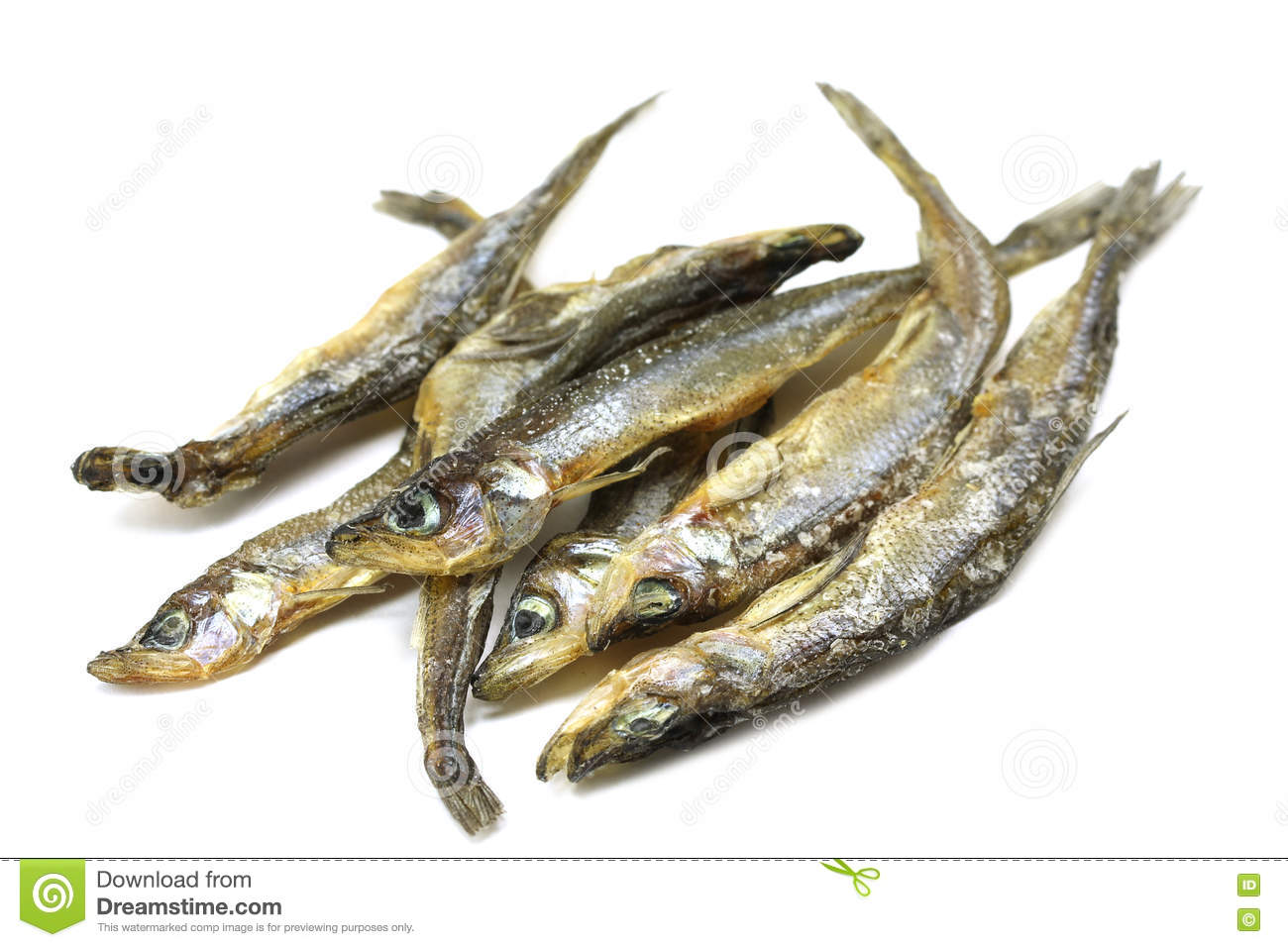 Serving Of Dried Fish Rainbow Smelt Stock Photo - Image of little ... for Dried Fish Clipart  287fsj