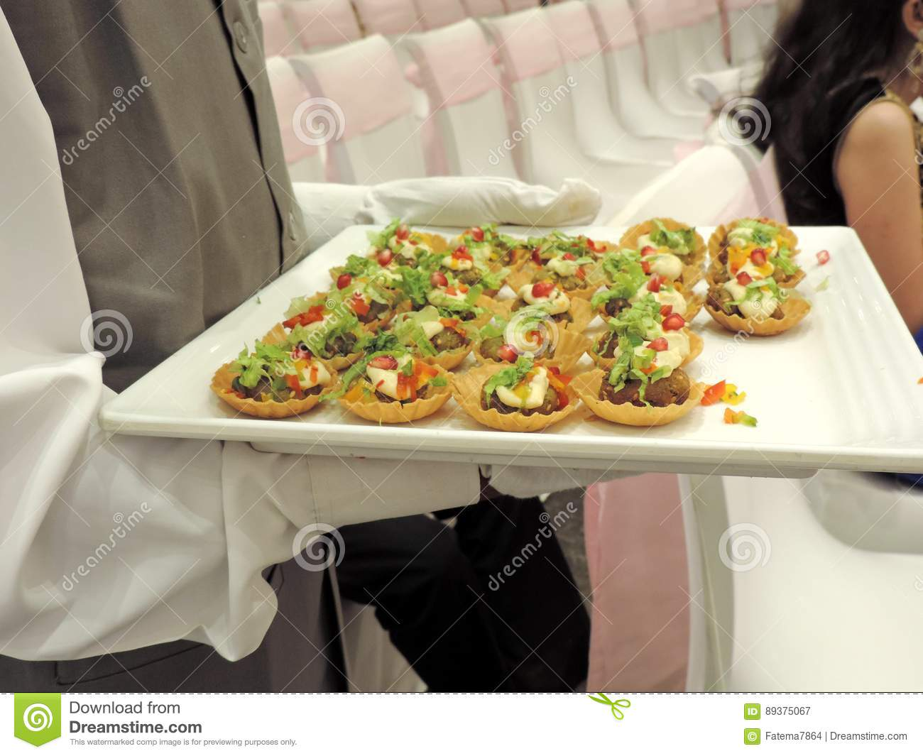 Serving Starters During Wedding Reception Stock Image Image Of