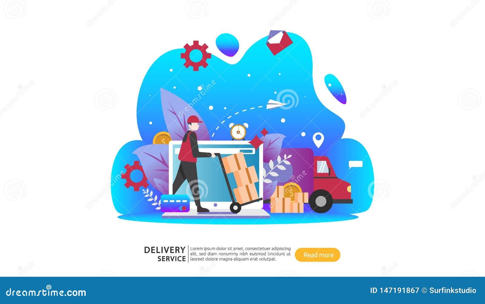 Servizio di distribuzione online concetto d inseguimento preciso di ordine con il camion minuscolo della scatola del carico e del