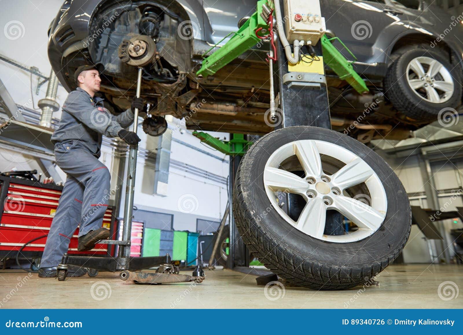 Servizio di riparazione automatica Il meccanico lavora con l automobile