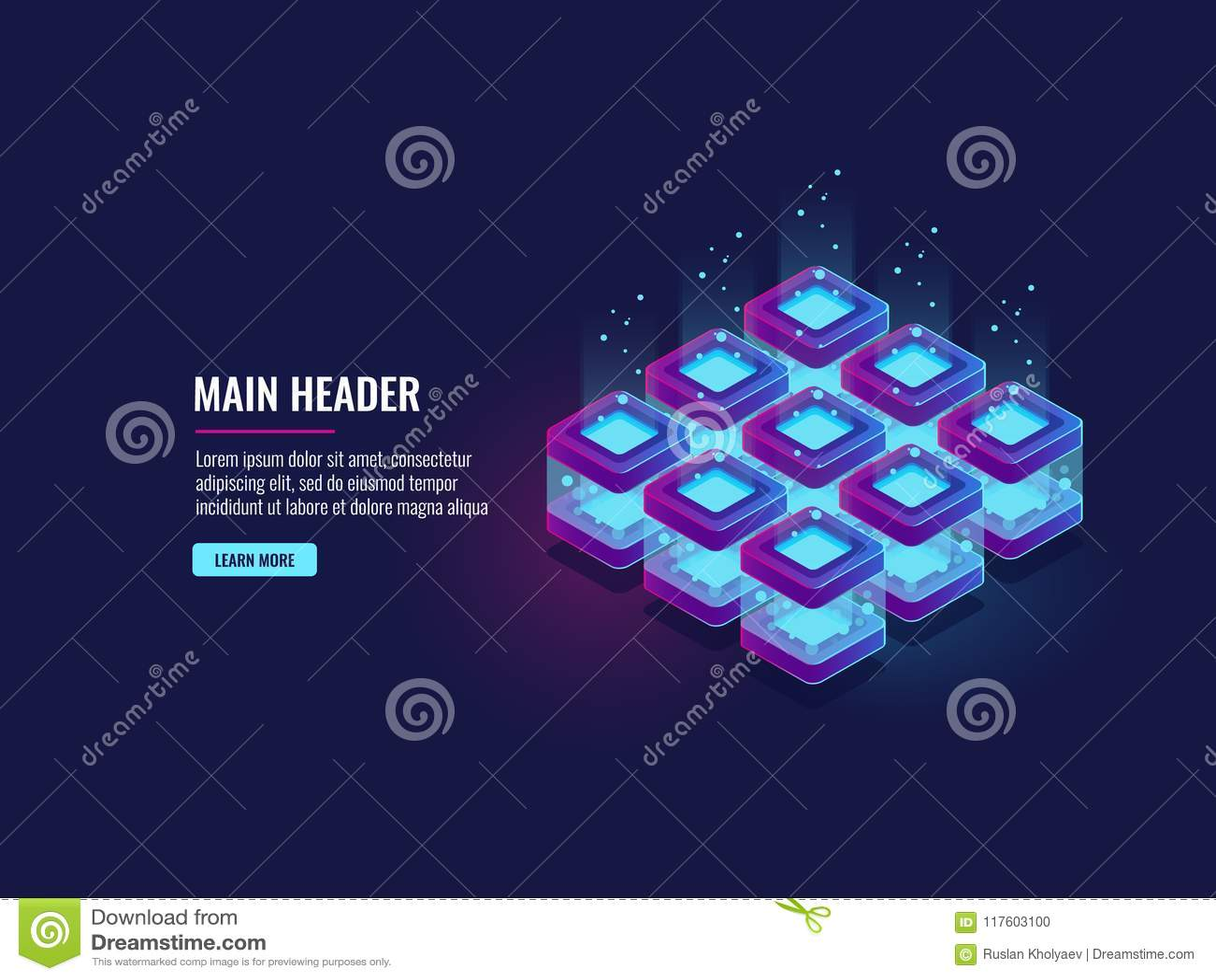 Serweru pokój, dane przepływ i bigdata przerobowy pojęcie, obłoczna składowa ikona, futurystyczny technologia cyfrowa zmrok neono