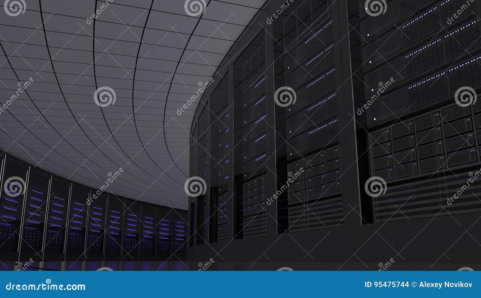 Serweru pokoju stojaki IT dane lub biznesu centrum pojęcia świadczenia 3 d