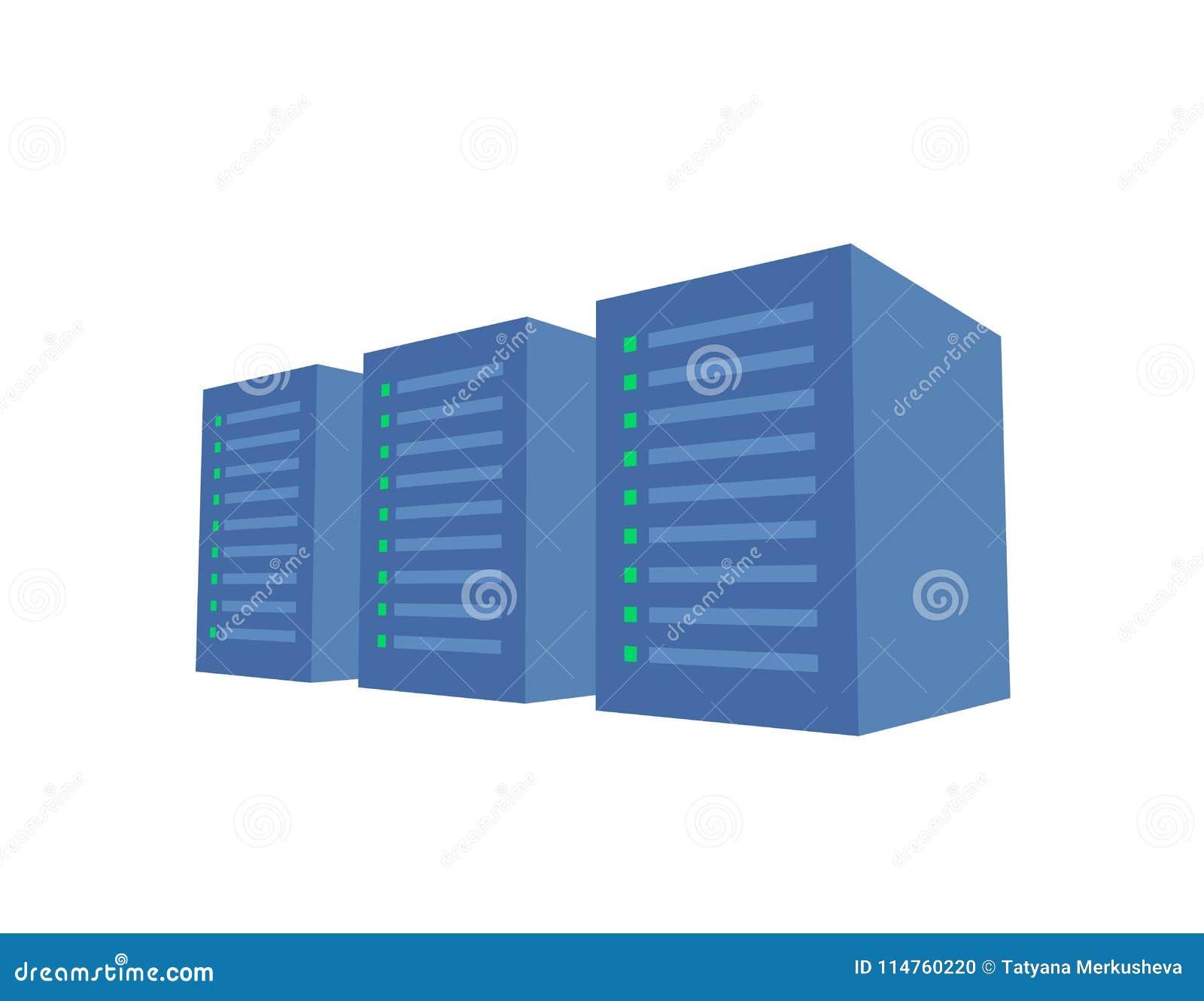 Serweru stojak z trzy błękitnymi serwerami Serweru gospodarstwo rolne, dane centrum pojęcie wektoru ilustracja pojedynczy białe t