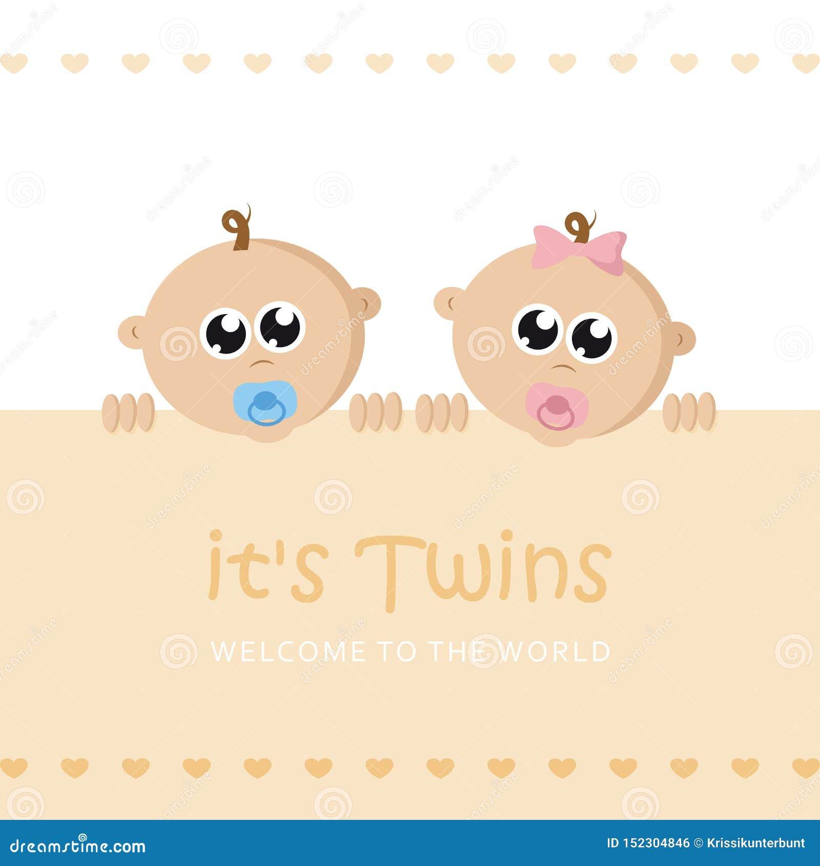 Ses jumeaux garçon et carte de voeux d accueil de fille pour l accouchement avec le visage de bébé