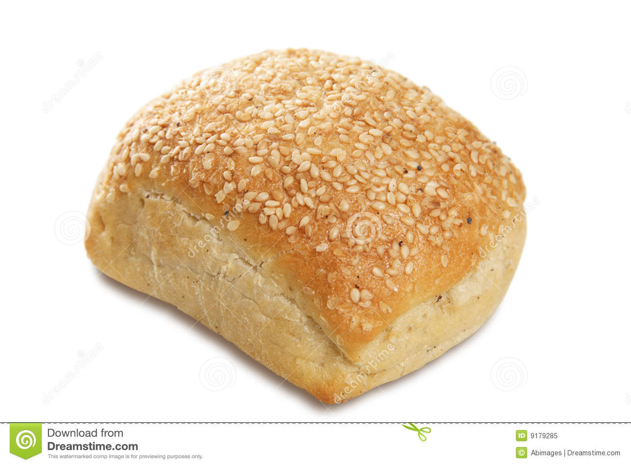 single bread bap covered with sesame seeds. White background narrow ...