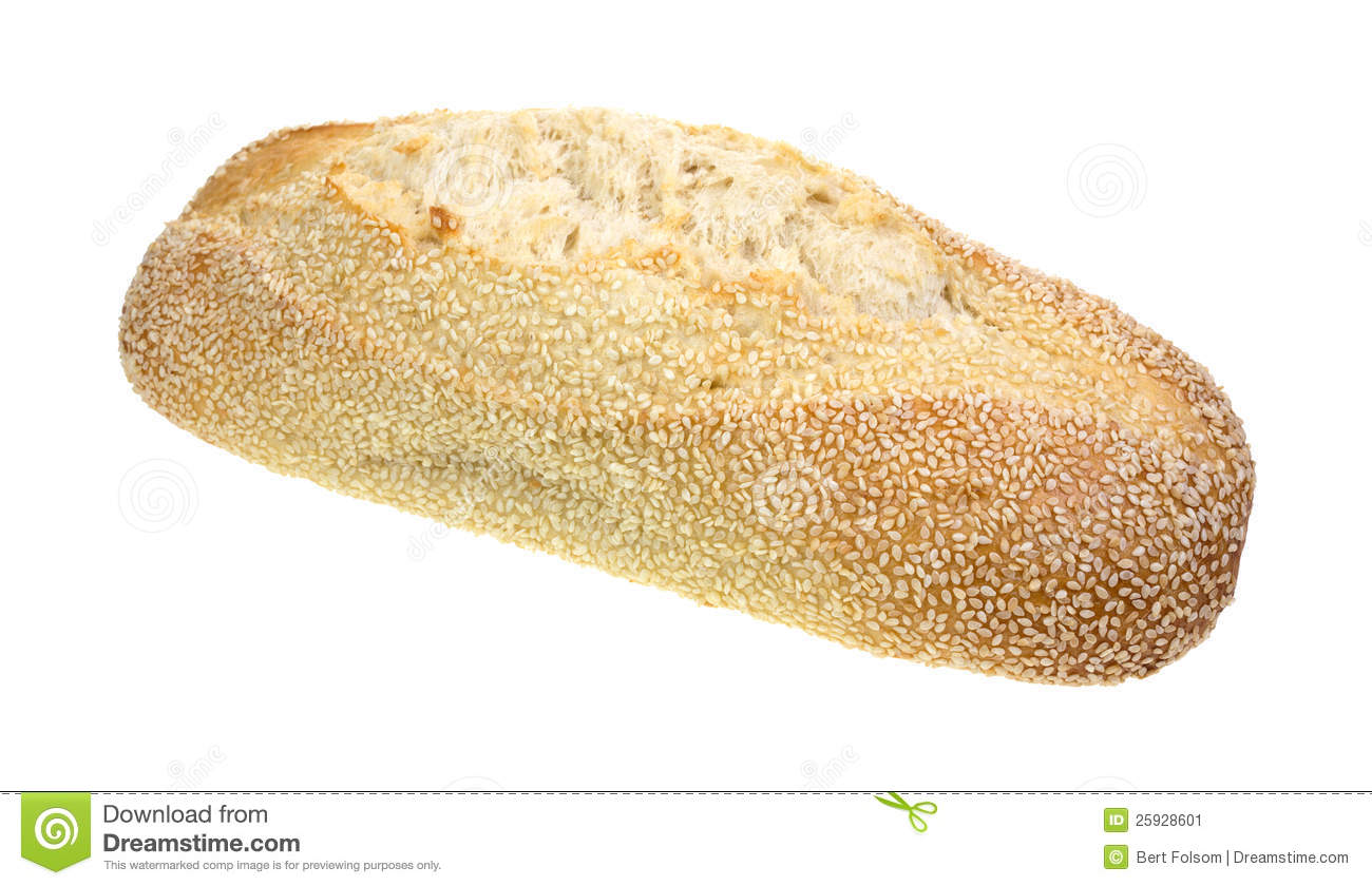 loaf of bread covered with sesame seeds on a white background.