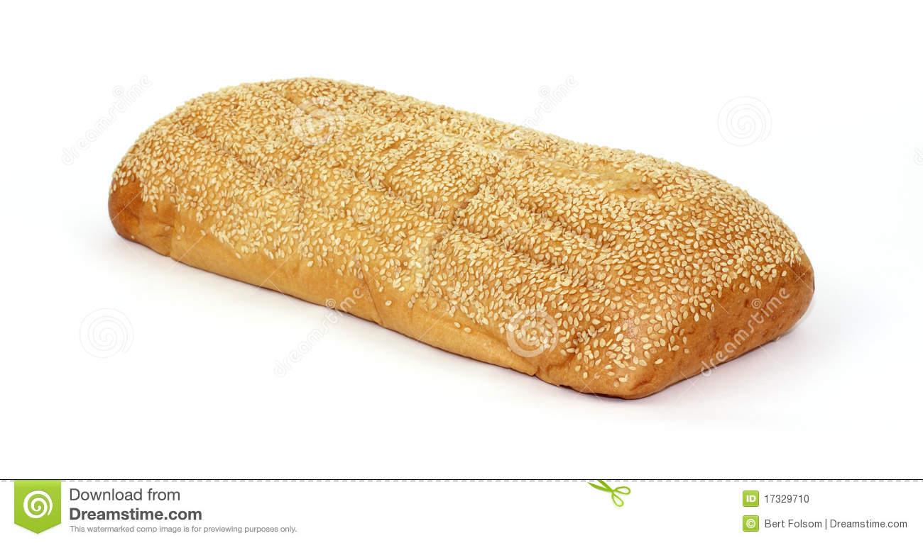 Freshly baked sesame seed Italian bread loaf on a white background.
