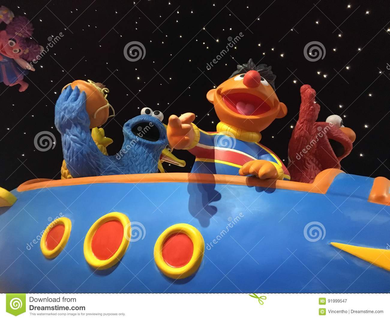 Sesame Street Characters On Spacecraft Editorial Photography