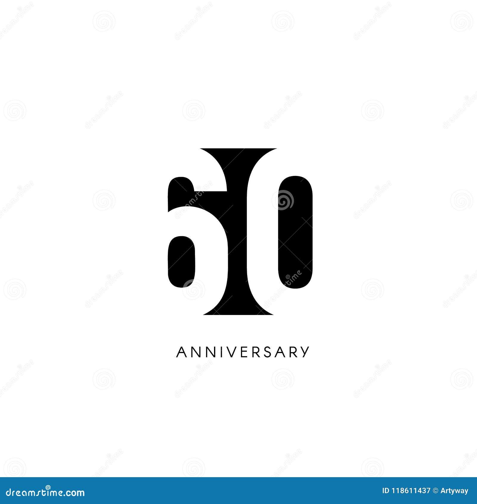Sesenta Aniversarios Logotipo Minimalistic Sexagésimos Años
